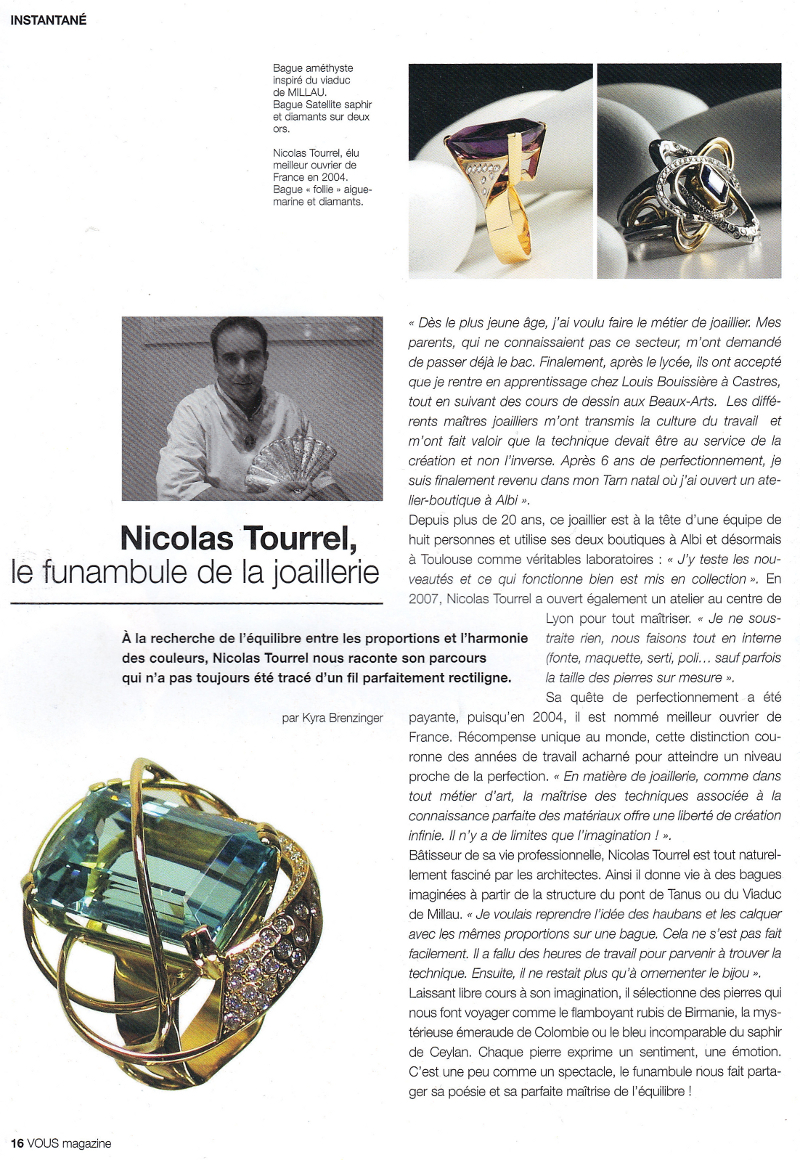 Nicolas Tourrel, article magazine VOUS